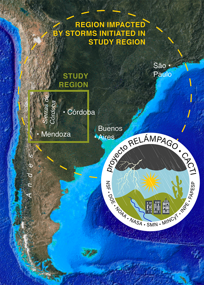 The study of the world's strongest thunderstorms will bring researchers to an atmospherically volatile region in South America. (Graphic courtesy of Steve Nesbitt.)